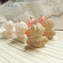 Tanduzi 20PCS Cute Charms 3D Resin Angel Pendant Miniature Cupid Figurine White Pink Yellow For Key Chain Phone Decoration DIY