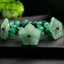 Wholesale Green Pink Crystal Bracelets Manual Weaving Three Flowers Beads Single Lap Bracelet Lucky for Women Fashion Jewelry(China)