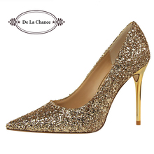 Glittering Fashion Sexy Party High Heel Summer Women Pumps Wedding Shoes Lady Pump Shiny Sequined High Heels Black White Gold