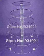 Free Shipping 6 Tier Round Acrylic Cake Stand For Wedding Perspex Cupcake Display Stand party decoration(China)