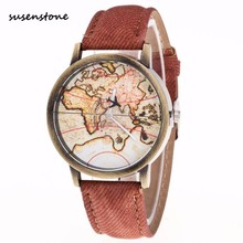Susenstone 2017 Original Brand Luxury Fashion Unisex Watch Men Women's Watch World Map Cowboy Band Quartz Wrist Watch Relogio(China)