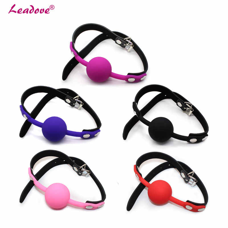 Adult Game Rubber Pu Mouth Stuffed Slave Oral Fixation Silicone Ball  Leather Mouth Gag Sex Products Sex