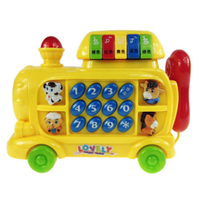 Hot 1pc Creative Electric Telephone Material Puzzle Music Phone Tractor Train Teaching Machine Digital Drawing Toys for Children(China)