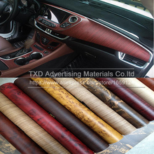 Promotion 10*124CM/Lot Wood PVC film for car Interior decoration Wood PVC Vinyl sticker by free shipping Wood grain pvc