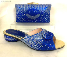 Most Popular Latest African Lady Shoes And Bag High Class Elegant Italian Shoes Matching Bag Set For Party With Full Stones Blue