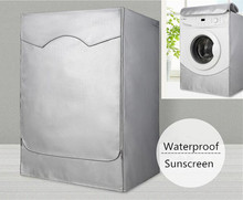 Silver Polyester Waterproof Cover For Drum Washing Machine Dust-proof Sunscreen Washer Dryer Cover(China)