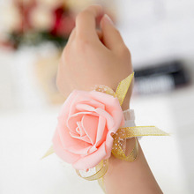 1 PCS Wedding Wrist Flowers Bridesmaid Silk Rose corsages Hand Flower Artificial Flowers For Wedding Decoration 4 Colors(China)
