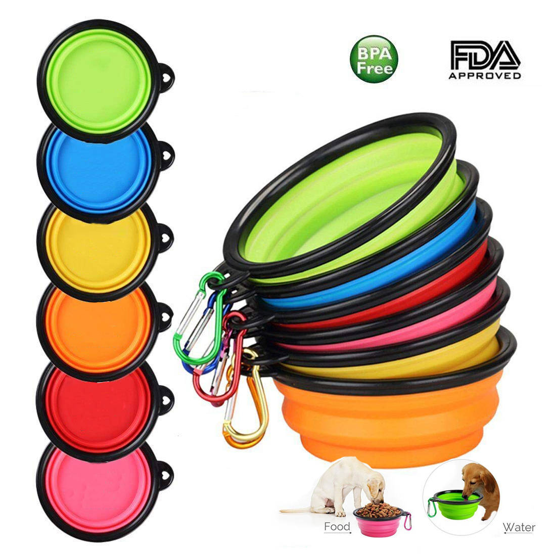 1PC Folding Silicone Dog Bowl Outfit Portable Travel Bowl For Dog Feeder Utensils Small Mudium Dog Bowls Pet Accessories