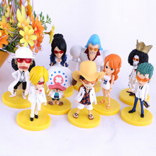 Anime One Piece Luffy Chopper Zoro Nami Robin Franky Brook Mini PVC Action Figure Collectible Model Kids Toys Doll 11CM 9pcs/se(China)