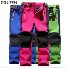DILUFEN 2017 Brand Autumn Winter Children Patchwork Keep Warm Trousers Kids Boys Girls windproof waterproof Sport Pants(China)