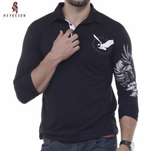 HEYKESON Mens Polo Shirt Brands 2017 Male Long Sleeve Fashion Casual Slim Solid Eagle Printing Polos Men Jerseys XXL(China)