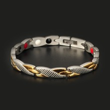 Brand Design Stainless Steel Wristband Gold Silver Plated Negative Ion Energy Health Jewelry Women Style Health Bracelet 10115
