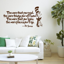 The more that you read... Mr.seuss vinyl quotes wall decal stickers home decor living room diy art mural wallpaper