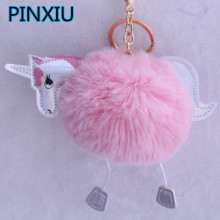 PINXIU NEW ARRIVAL Super Cute Rainbow Horse Unicorn Fluffy Fur Pom Keychain Pendant Bag Charms Handbag Accessory Purse Ornament