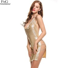 FANALA Summer Dress Women 2017 Sexy Party Dresses Halter Spaghetti Strap Backless Split Hollow Out Bodycon Gold Silver Vestidos
