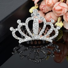 Wedding Bridal Princess Crystal Tiara Prom Hair Crown Veil Headband Pageant Comb-Y094