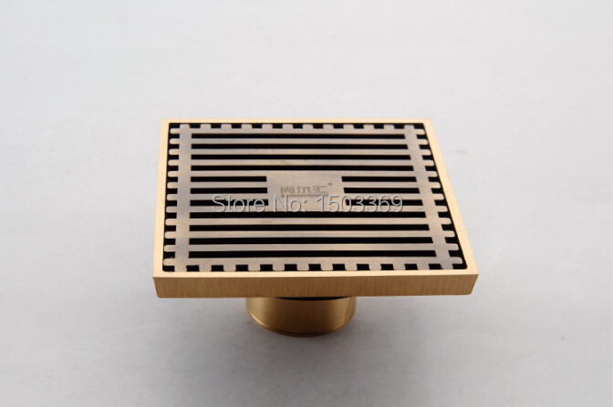 high quanlity Total Brass bronze finished against the stench art cover bathroom Floor Drain Waste Drain 10*10 size  Floor Drain<br>