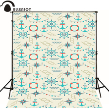 Allenjoy Photographic background Compass rudder sea ship newborn vinyl backdrops new design interesting wall floor(China)