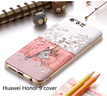 Huawei Honor 9 Case High Quality Soft TPU 3D Relief Painting Stereo Feeling Back Cover Case For Huawei Honor 9 Mobile Phone Bag(China)