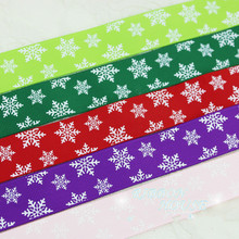 25mm 2 Meters Snow Printed Satin Ribbons Christmas New Year Decorative Gift Packing Crafts Red Green Pink Purple(China)