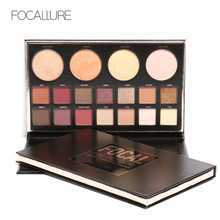 FOCALLURE New Highly Pigmented Glitter Eye Shadow Flash Shimmer Eyeshadow with Bush Highlighter Palette Face Makeup Tools