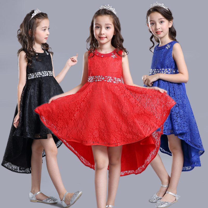 Children Party Dress Girls Lace Dresses Tail Evening Party Wedding Christmas Dress for Girls Sleeveless Princess Kids Clothes<br>