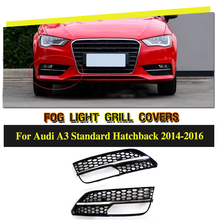 Car Styling ABS Fog Light Grill Covers For Audi A3 Sportback Hatchblack 2014-2016