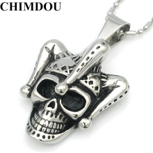 CHIMDOU Fashion Men Stainless Steel Pendant Necklace Chain Skull Clown Jewelry 2017 Hot Selling AP1810(China)