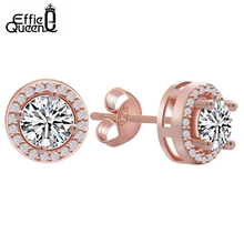 Effie Queen 2017 Fashion New Hot Popular Luxury Zircon Stud Earrings Elegant Rose Gold-Color Earrings for Women DE104-R-W