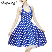 Singwing New Womens Summer Casual Dresses Crew Neck Sleeveless Backless Dresses Ball Gown Polka Dot Pattern Dress