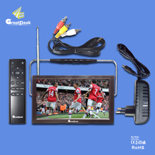 Free shipping 12v LED portable digital tv dvb t2 tv mpeg4 battery powered rechargable television