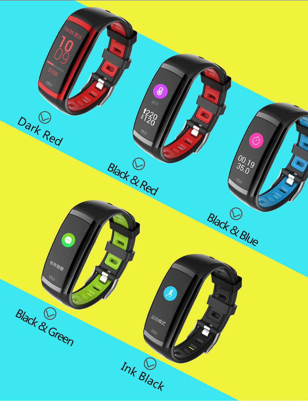 CD09 Smart Wristband Cicret band Watch Heart rate monitor Smartband Pulsometer Sport health Fitness Bracelet tracker for IOS (15)