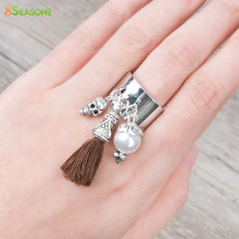 8SEASONS New Fashion Copper Silver Tone Color Adjustable Rings Acrylic imitation pearls Bead Skull Cotton Brown Tassel US 6.25