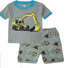 High Quality Summer Baby boys Clothes digger pattern Suit Short Sleeve T-shirt +Shorts Kids Clothing Sets pajamas k036