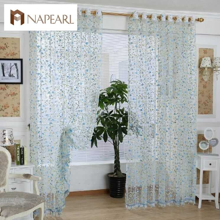 NAPEARL Rustic tulle window curtain for bedroom blue pink curtains pastoral fabrics for balcony sheer panel