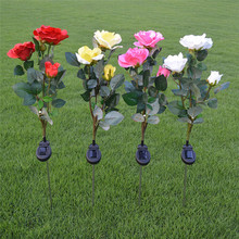 Trecaan2pcs/lot Waterproof Solar Powered Rose flower Landscape Decoration Outdoor Garden Yard Lawn White Lights(China)