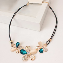 N389 The latest fashion jewelry wholesale products listed three plum mosaic crystal opal necklace short statement necklace