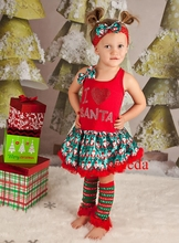 Xmas I Love Santa Red Pettiskirt Dress Headband Leg Warmers 3pcs Party Dress 1-4Y