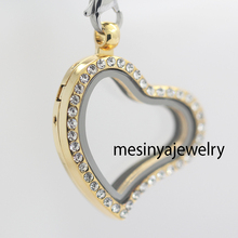 Lowest price free shipping 10pcs best quality PVD gold curved heart czech crystal crystal glass locket for floating charms