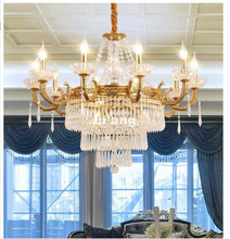 New Arrival European Bronze Chandelier D70cm Brass Crystal Chandelier Lamp Crystal Lustre Light Fixture Villa Cristal Lighting(China)