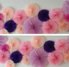40cm=16 inch Tissue Paper fans Flowers pom poms balls lanterns Party Decor Craft For Wedding Decoration multi option fan(China)