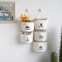 cotton Linen Storage bag Creative Wardrobe Hang Bag Wall Pouch Cosmetic Toys Organize Pockets container wardrobe trunk(China)