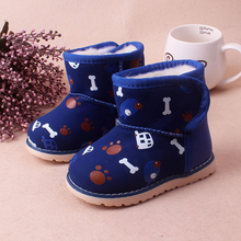 Toddler Snow Boots Carton design Baby Winter shoes Boys and Girls Rain boots with Plush fur 13-16cm First walkers