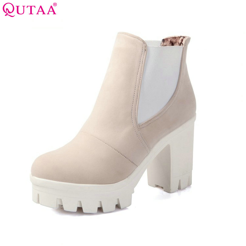 QUTAA 2017 Fashion Women Boots Fashion Ankle Boots High Heeled Shoes Thick Heel Platform Motorcycle Wedding Snow Size 34-43<br>