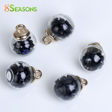 "8SEASONS Clear Glass Globe Bottle Charms Black Rhinestone 22mm( 7/8"") x 16mm( 5/8""), 10 PCs(China)"