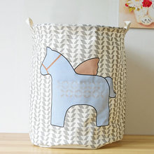 Cotton Linen Fabric Storage Basket Cartoon Pony Clothes Large Laundry Storage Buckets Bags Kids Toy Organization With Handel(China)
