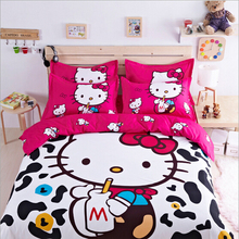 Hello kitty cartoon bed set bedding sets bed linen for kids twin queen size bedclothes duvet cover sheet bedding-set