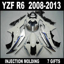 7 Gifts fairings for 2008 2009 2010 - 2013 YAMAHA R6 fairings 08 09 10 11 12 13 YZF R6 silvery white black fairing set JFV75