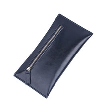 women wallets Long thin genuine leather zipper wallet ladies hand mobile phone bag men wallet purse(China)