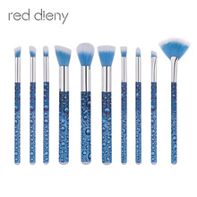 Roll Printing Water Droplets Blue Brush Set 10PCS For Face And Eye Eyebrow Eyeshadow Makeup Brush Fan-shaped Foundation Brushes
